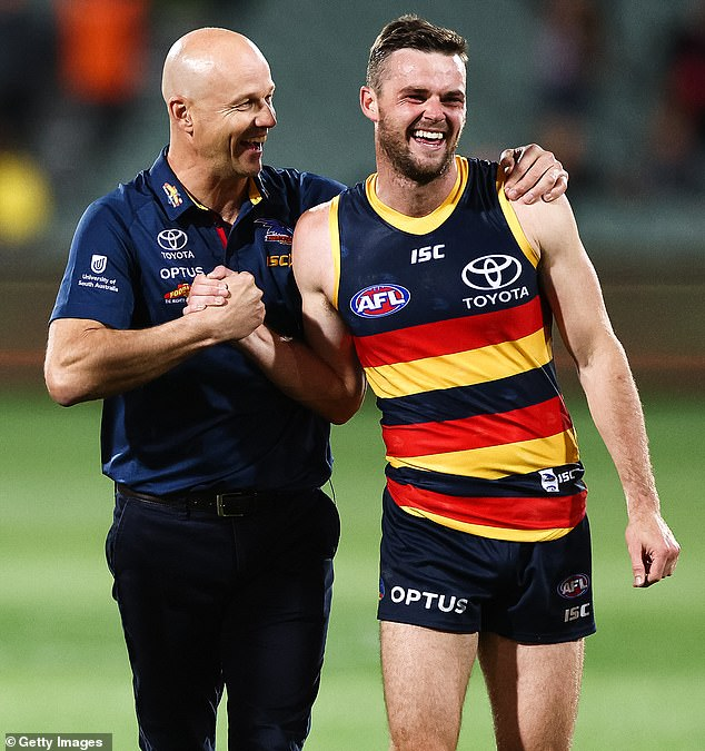 Star midfielder Brad Crouch (pictured with coachMatthew Nicks) and his teammate were stopped by police in the Adelaide CBD early on Monday morning