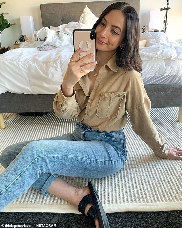 Canberra fashion blogger 'This is Genevieve' wears the long-sleeved corduroy shirt from Kmart in shade 'Peanut', currently reduced to $9