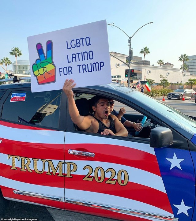 There were Trump supporters showing off their support in Beverly Hills in Los Angeles, a city which is traditionally thought to be Democrat