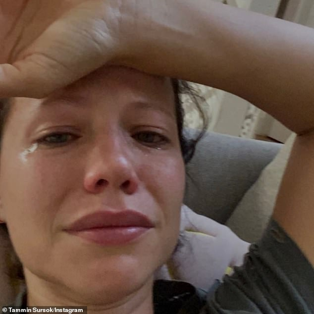 'Watching her struggle broke me': Tammin Sursok shared a heartbreaking photo in tears on Sunday as she grieved the death of her beloved dog, Sydney