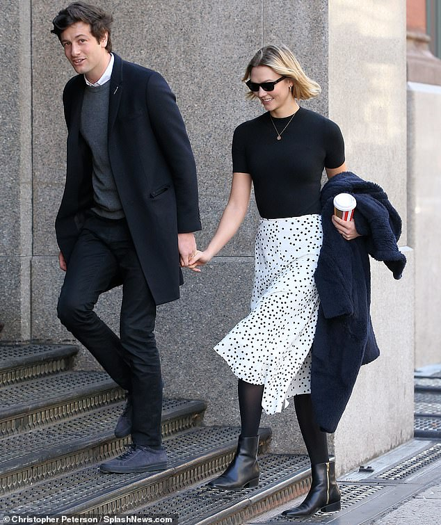 Throwback: Karlie is married to Joshua Kushner, the brother of Donald Trump's son-in-law and adviser Jared Kushner; the couple are pictured in New York last October