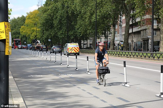 A lone cyclist travels along a bike lane on Park Lane in London's Mayfair earlier this month