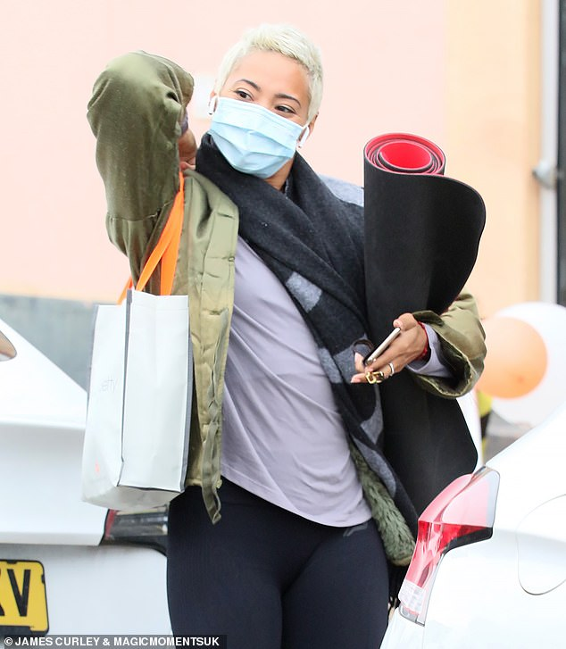 Let's go:Karen Hauer was seen arriving for Strictly Come Dancing rehearsals at a London studio on Sunday ahead of the BBC show's highly anticipated return