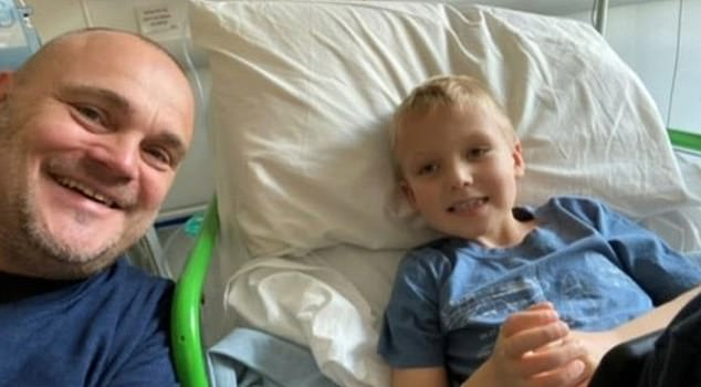 Struggling:Al Murray has revealed his nephew Finley is 'very ill but hanging in there' amid his battle with a rare form of leukemia