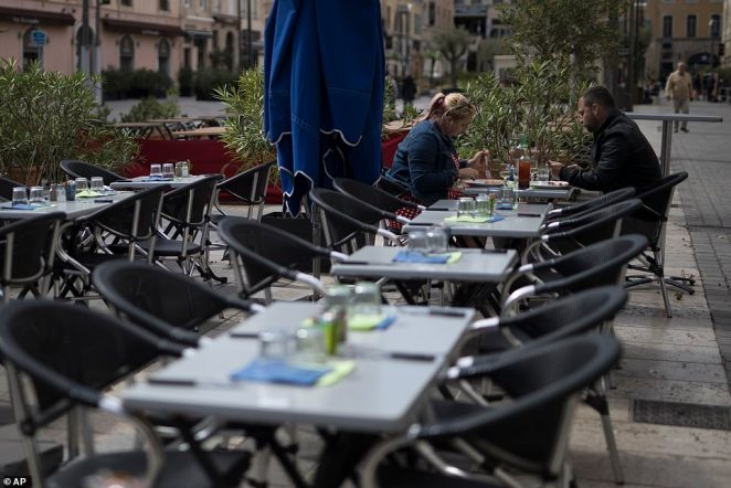 Marseille Mayor Michèle Rubirola said that she had not been consulted about the decision to enforce a second lockdown in the area - which left her 'astonished and angry'. Pictured: Diners eating out for a final time yesterday ahead of the new rules