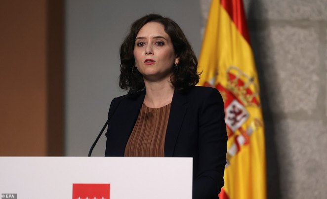 It comes as Madrid's regional president Isabel Diaz Ayuso (pictured) has rejected calls for the city to go back into lockdown despite a surge in coronavirus cases