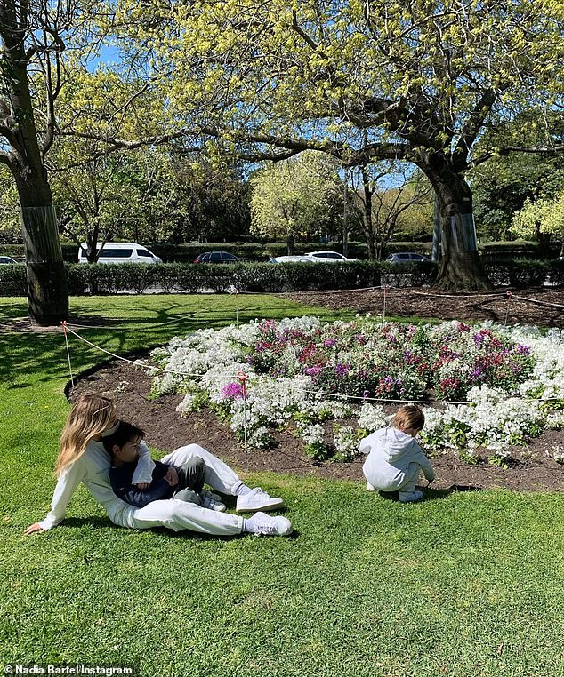 Family time: On Monday, Nadia Bartel, 35, (pictured) enjoyed a day out at a local park with her sons Aston, four, and Henley, one, as Melbourne's lockdown restrictions begun to ease
