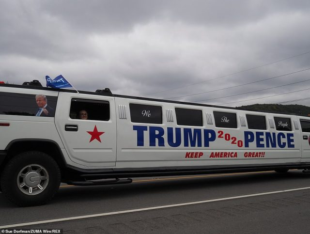 A Humvee showed off support for both President Donald Trump and Vice President Mike Pence