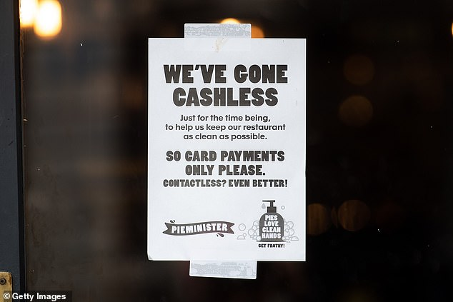 A sign in the window of a Pieminister restaurant in Cardiff, Wales, informing customers the store has gone cashless as a COVID-19 measure on March 17, 2020. Half of the people TCU spoke with are using less cash than they were prior to the pandemic, and 60 percent don't think they'll go back to using it regularly when it ends