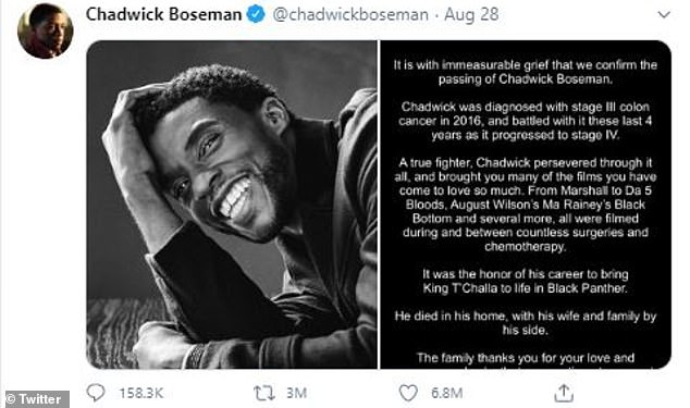 History maker: Twitter confirmed that the announcement of 43-year-old actor Chadwick Boseman's tragic passing is the most liked tweet in the site's history having currently garnered 6.9M likes