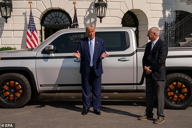President Donald Trump (left) speaks about the truck's technology alongside Lordtown Motors CEO Steve Burns (right) at the White House Monday