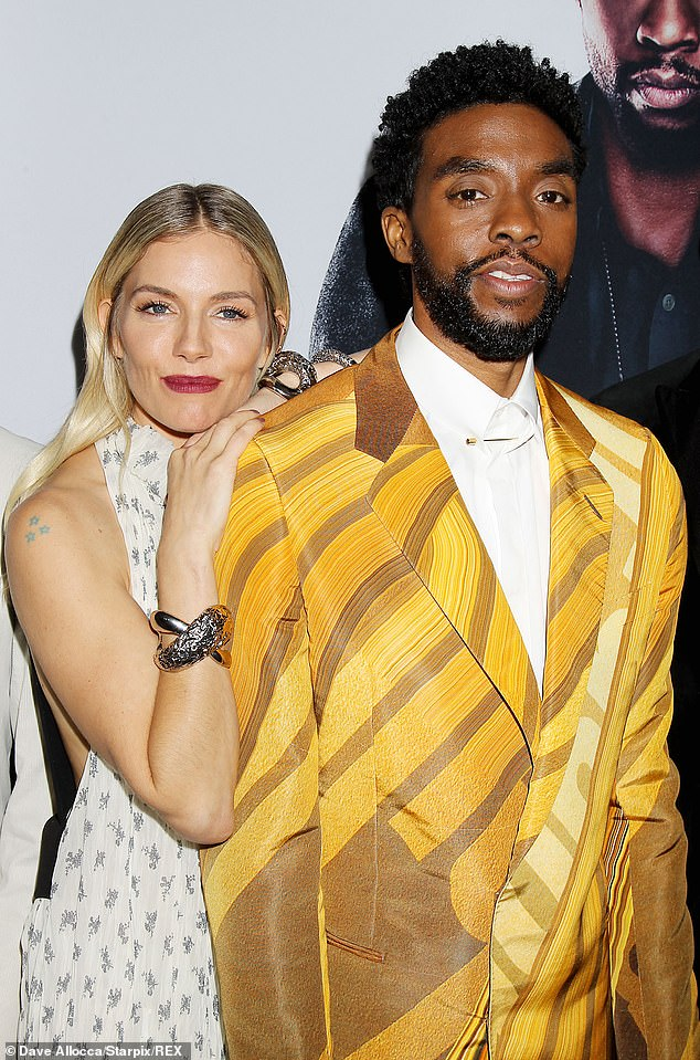 Star:Sienna Miller, 38, has revealed that Chadwick Boseman donated money from his own salary to boost her pay on 21 Bridges and said it was what she 'deserved to be paid'(pictured November 2019)