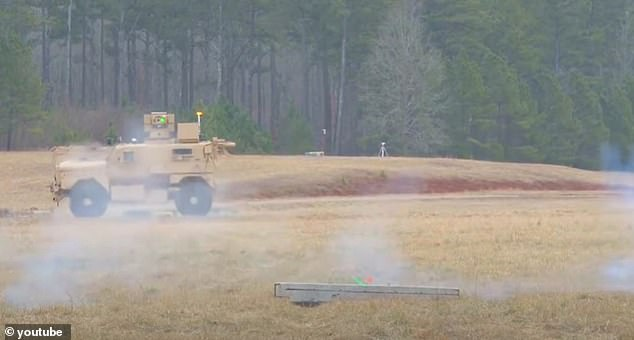 RADBO, which will be used to clear hazards out of airfields, is made up of a mine-resistant Cougar infantry vehicle, Parsons' three-kilowatt ZEUS laser weapon and an 'arm' that can remove debris or other obstacles