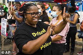 An American Sign Language interpreter at a Black Lives Matter rally