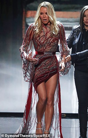 Legs for days: Amanda first made an impression in thigh-skimming gown by Ziad Nakad, showing off a liberal amount of leg thanks to the asymmetric hemline