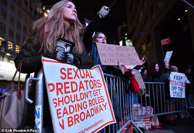 A #MeToo protest outside the Broadway Theatre on the opening night of West Side Story in February 2020, in which Ramasar was cast to play Sharks gang leader Bernardo is seen above