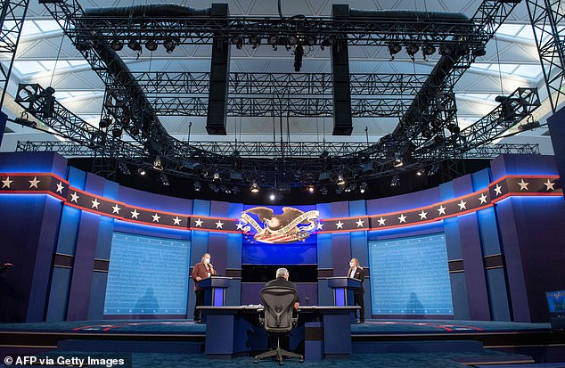 The debate hall in Cleveland, Ohio is being set up for Tuesday's presidential debate between President Donald Trump and former Vice President Joe Biden at Case Western Reserve University
