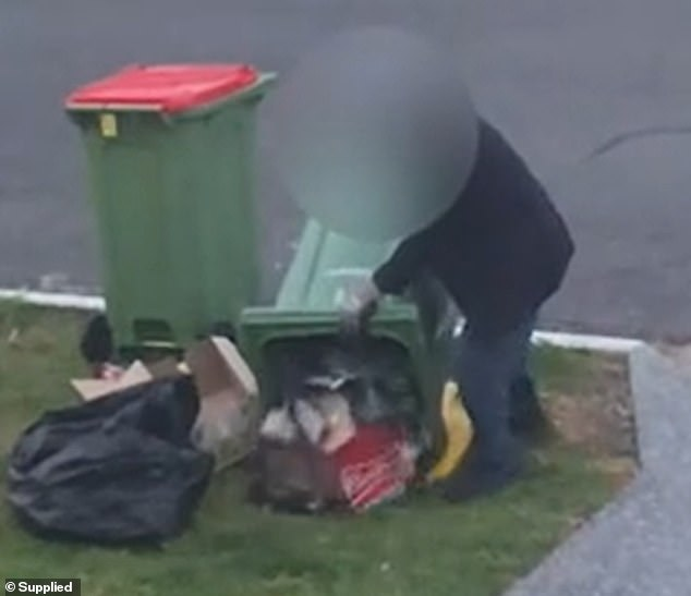 Residents have contacted Gold Coast City Council and Queensland Police but have been told there is little they can do (pictured, a bin diver at work)
