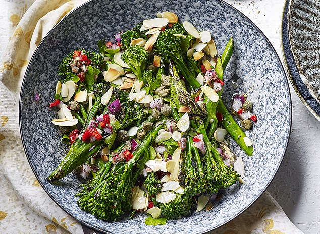 Broccoli, anchovies & toasted almond salad