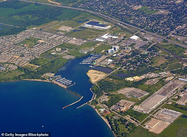Data from Google showed how his phone had been located at Oshawa Harbour, pictured above, one week before the torso of Rori Hache had been found