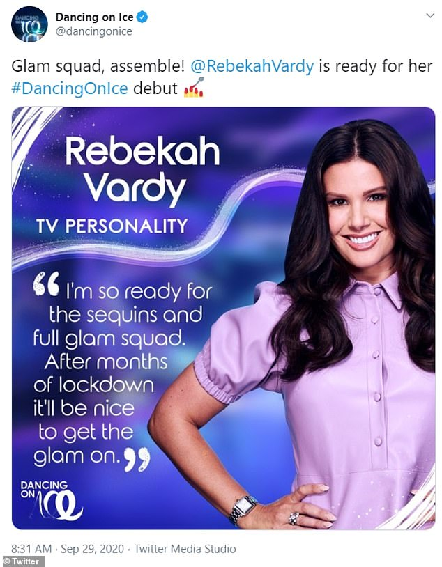 Exciting:Rebekah Vardy has been confirmed as the latest star set to appear in Dancing on Ice in 2021