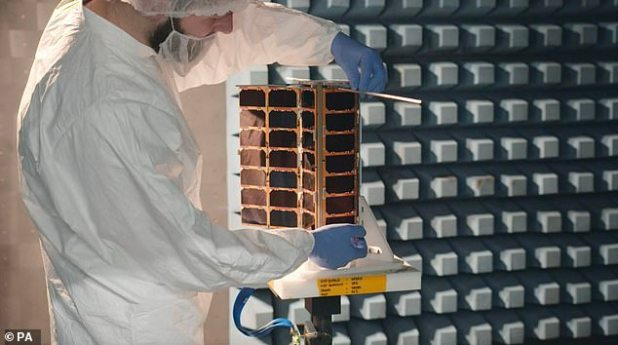 Nanosatlites, which received more than £ 6 million in funding from the UK Space Agency, will join more than 100 other space commodities supporting the maritime trade.  Picture is nanosatellites with supercomputers