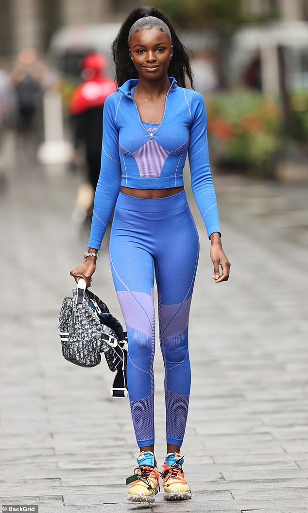 Straight off the runway:She has walked for Victoria's Secret - and Leomie Anderson looked like she had strutted off the catwalk as she stepped out in London on Tuesday