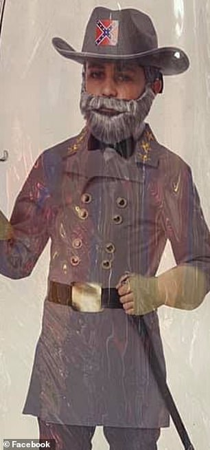 The image above shows a Halloween costume of Confederate General Robert E. Lee
