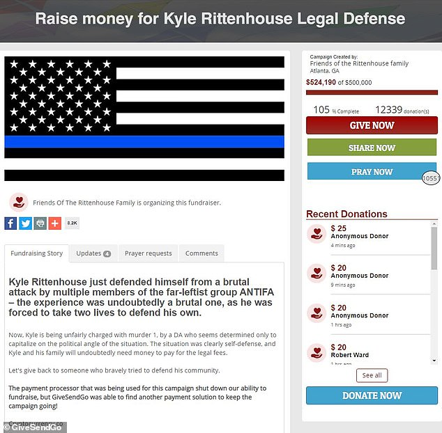 The GiveSendGo fundraising page is pictured. As of Tuesday morning, more than 12,330 people have donated to the fund, with the current amount of money raised totaling $524,190