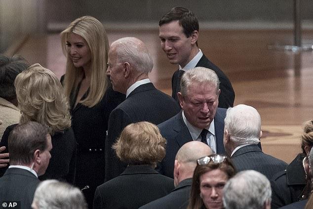 Jill and Joe Biden speak to Ivanka Trump and Jared Kushner before George HW Bush's funeral began