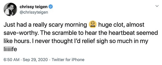 Sigh of relief: Teigen tweeted this Tuesday morning