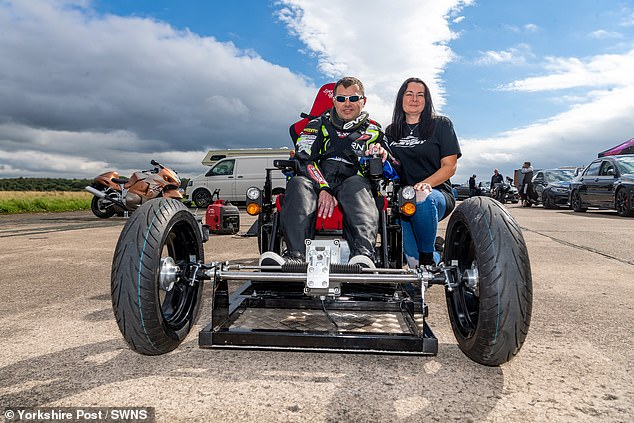 Jason Liversidge, 44, from Rise in East Yorkshire, was diagnosed with motor neurone disease in 2013 at the age of 37 - this week, he smashed theworld record for the fastest ride in an electric wheelchair after hitting nearly 67mph atElvington Airfield in North Yorkshire
