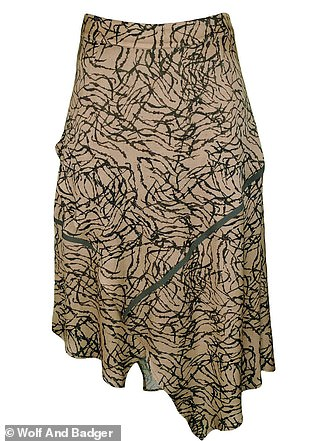Asymmetric Matt Gold Viscose Skirt With Khaki Stripes by Lalipop Design, $198; wolfandbadger.com