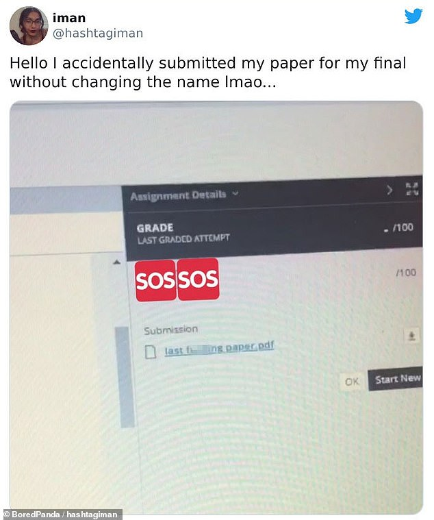 An University of Texas student was left in a state of shock after sending her final essay with the title 'last f****** paper'