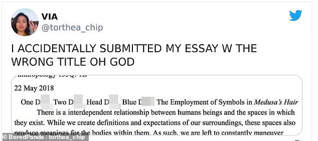 In California, an UCLA student was left panicking after she named her essay 'One D***, Two D***, Head D***, Blue D***'
