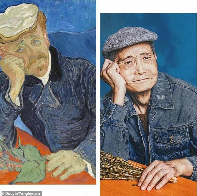 The world-famous works of art recreated by the pensioners at the home in Shanghai including 'Portrait of Dr Gachet', 'Girl with a Pearl Earring' and a self-portrait of Frida Kahlo