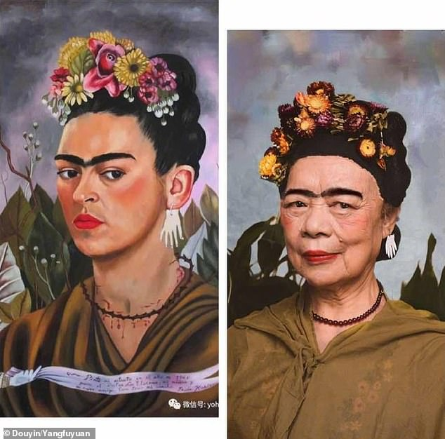 In a before-and-after style, the seniors are seen in viral footage doing their normal day-to-day activities before suddenly turning into renowned painting figures with a makeover