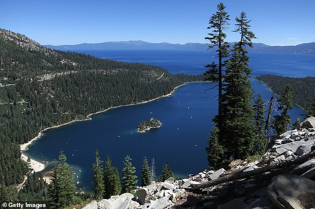 Several marine units joined in the search for Normoyle and his body was recovered about five weeks after he went missing. Pictured Lake Tahoe