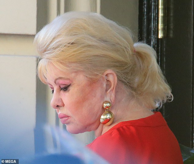 Former model: Ivana'splatinum blonde hair was teased at the top and pulled back into a ponytail, with her bangs framing her perfectly made-up face