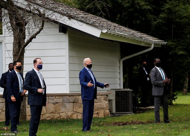 Joe Biden is waiting for the debate to begin at a private residence in Cleveland