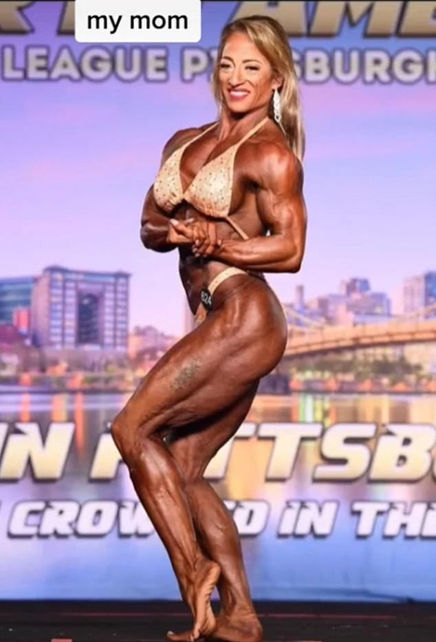 It's the look: Delaney explained in the comments that her mom has to get spray tan before every competition