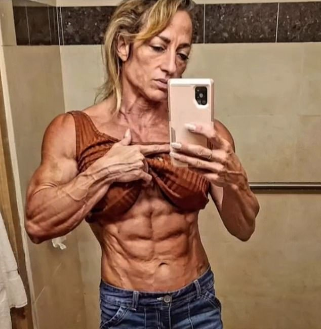 Ripped: Delaney Short, 17, from Virginia, stunned her TikTok followers when she shared a slideshow of photos of her bodybuilding mother, Becky (pictured)