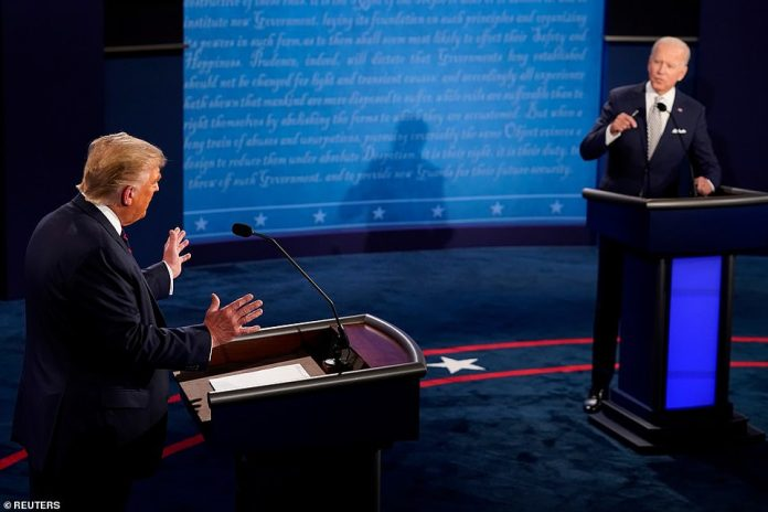 'Would you shut up, man?,' a visibly exasperated Biden said about 20 minutes into the debate after Trump interrupted him again as he tried to talk about the Supreme Court