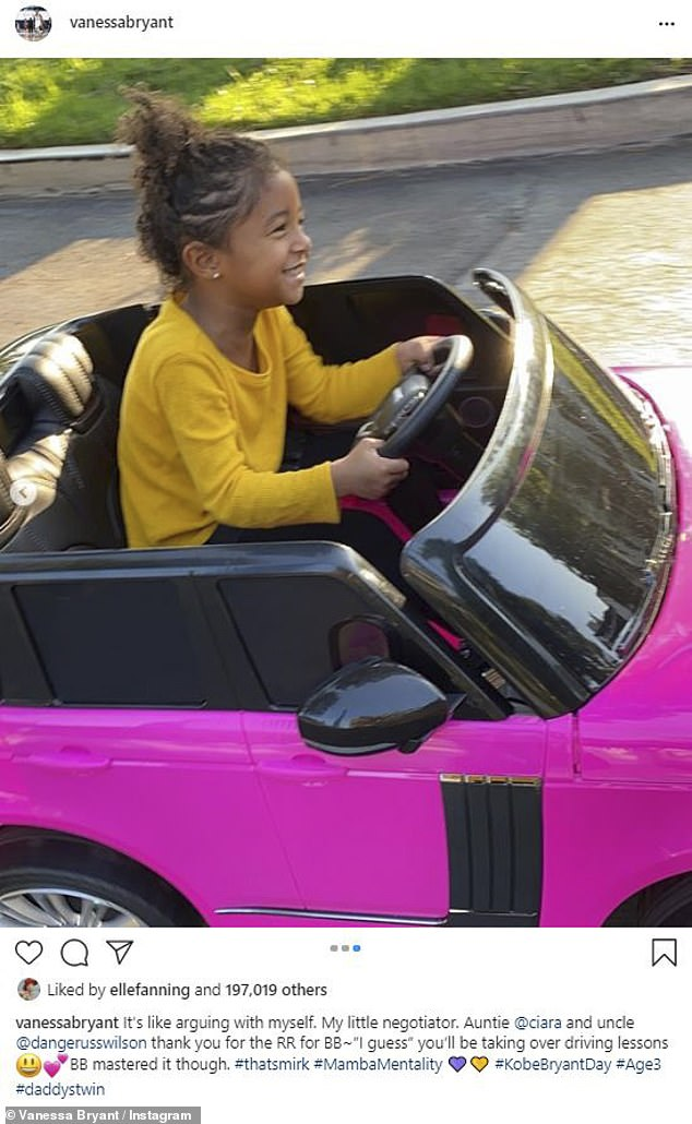 Fancy:While the family's spent time together on Mamba Day, Bianka got a special present from Ciara: a hot pink mini Range Rover