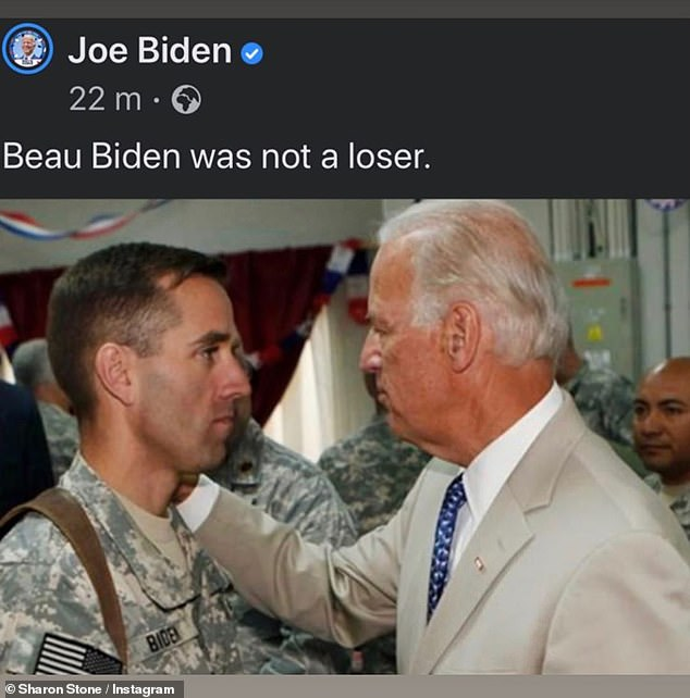 Repost: Sharon Stone shared a shot of Biden with his late son Beau, who died in 2015