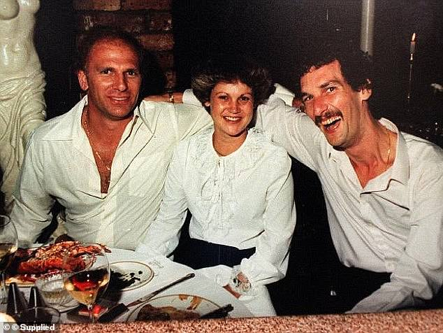 Neddy Smith (left) is serving life in jail for the 1987 murder of tow truck driver Ronald Flavell at Coogee and the 1983 murder of brothel keeper Harvey Jones (right) at Botany. Smiths's ex-wife Debra is pictured centre