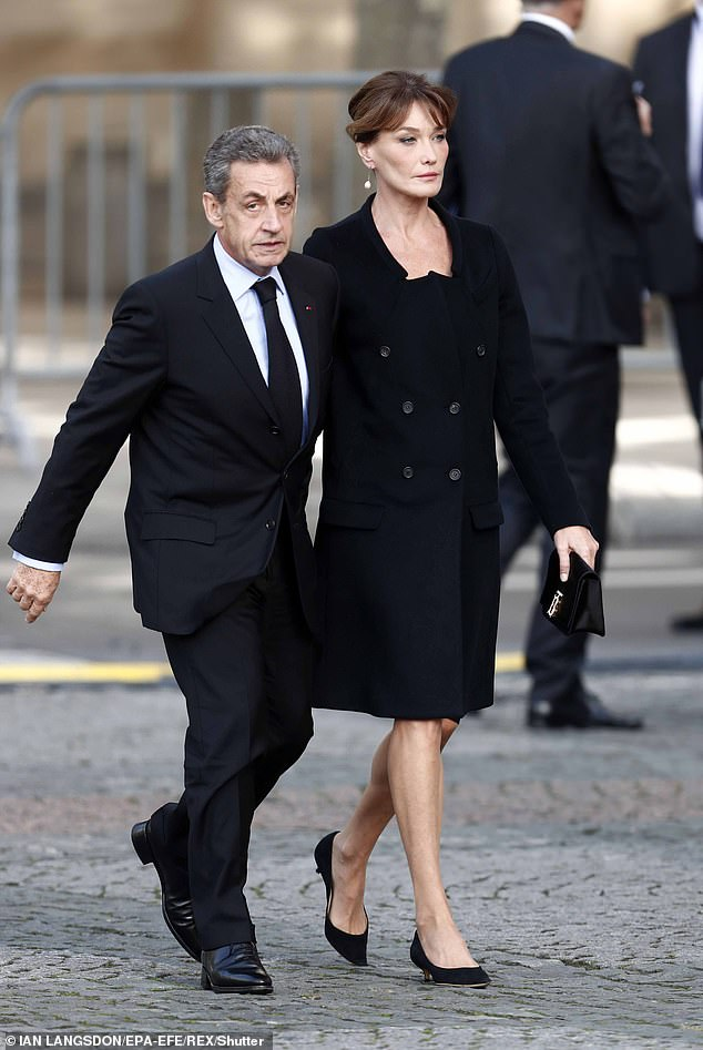 Bruni, who went on to marry former French president Nicolas Sarkozy (pictured) in 2008 said Trump said the claims had been made up by the media