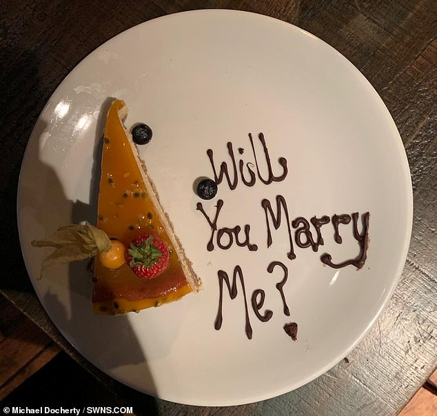 Lee knew his Stephen was meeting the woman at Finsbay Flatiron steak restaurant, in Glasgow, for a romantic meal. He rang up the venue pretending to be Stephen and told staff he was planning to pop the question to his date. They then carried this dessert to the table