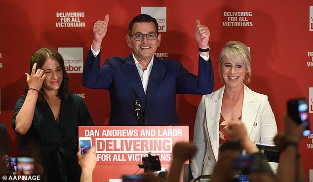 Daniel Andrews celebrates his re-election in November 2018. An unnamed MP said the Victorian Labor leader is an 'election-winning machine'