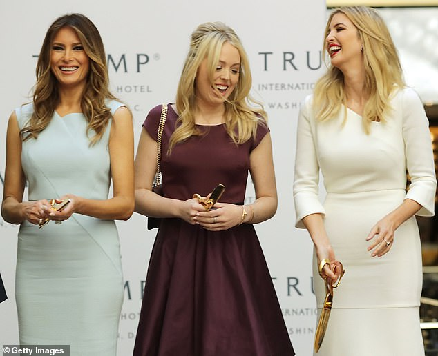Support system: Tiffany, pictured with Melania and Ivanka in 2016, has spent much of Trump's presidency in college, and has not been as much of a constant presence at official events